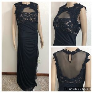 Betsy Adam Maxi Semi Sheer Bodice Formal Gown Sz12